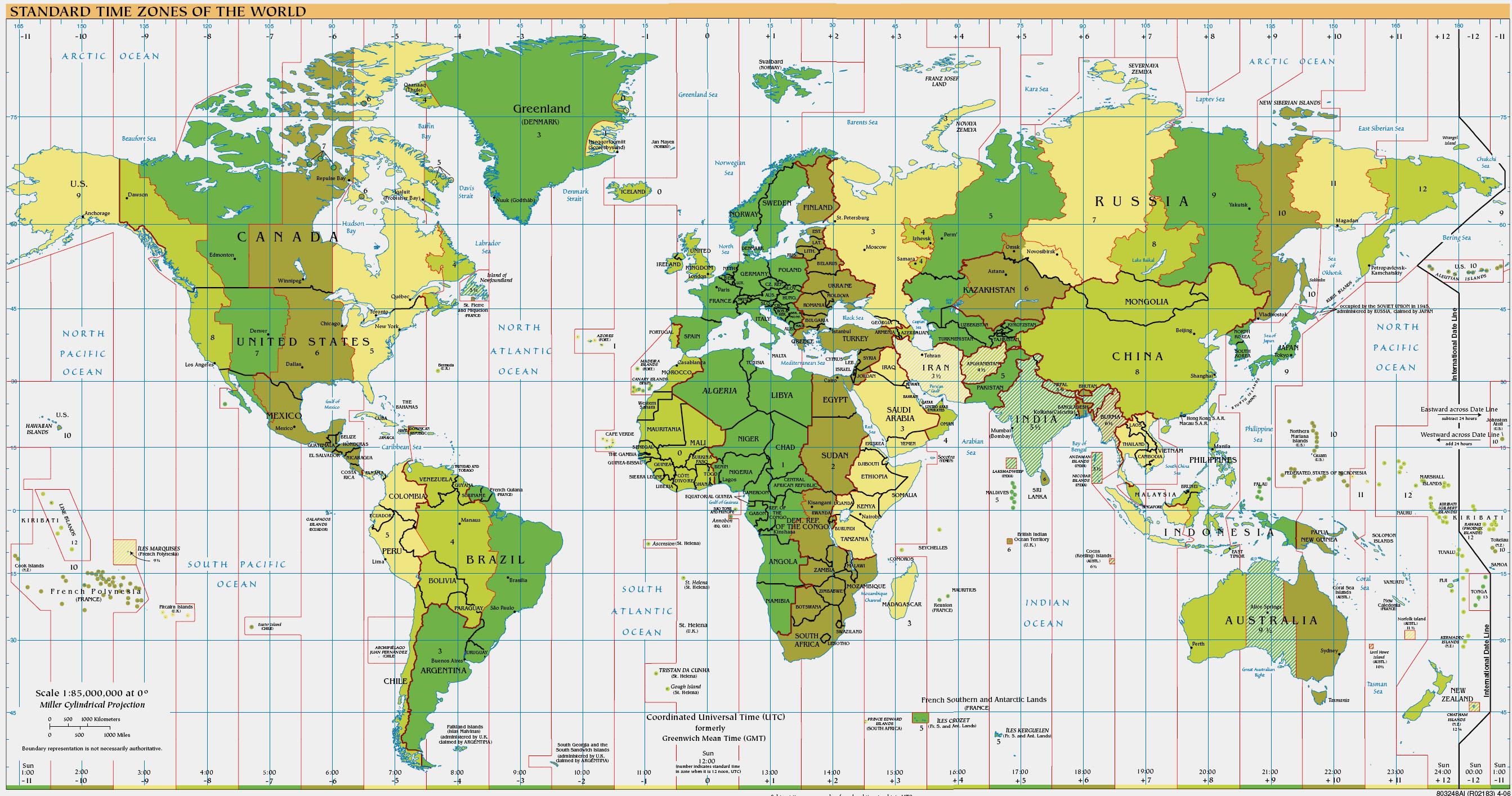 Time Zones of the World | Google Maps World Gazetteer ...